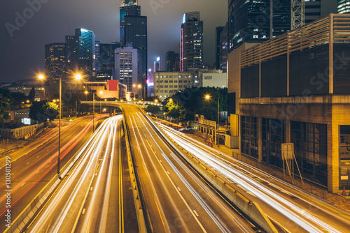 Fototapety, obrazy: Traffic light trails in downtown of Hong Kong,China.