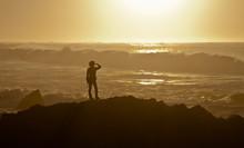 Woman At Asilomar State Beach Near Monterey, California, USA