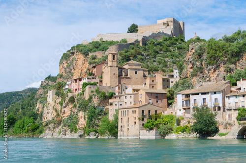 View of Miravet, village of the province of Tarragona, Spain, on