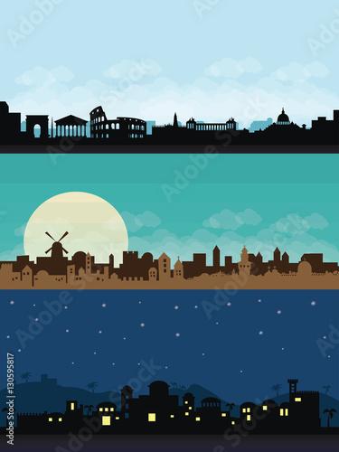 Papel de parede bethlehem jerusaslam rome city scape flat illustration