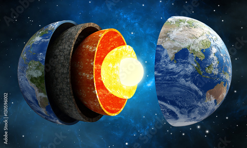 Fotografia 3D illustration showing layers of the Earth in space