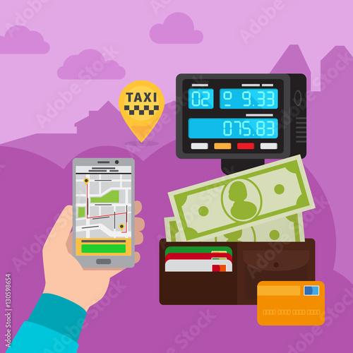 Smartphone touchscreen online taxi car call technology vector concept illustration