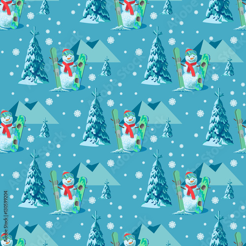 Cotton fabric Endless pattern Christmas theme. Vector seamless illustration of a snowman, ski snowboard outfit with snow covered trees, mountains in the blue background.
