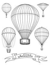 Aeronautica Poster Design Vector Illustration. Graphic Poster With Hot Air Balloons And Ribbon Aeronautica
