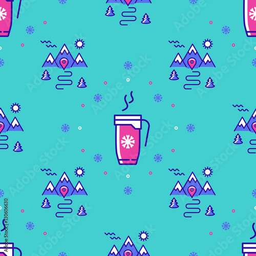 Cotton fabric Winter sport seamless pattern. Winter landscape repeat background. Trendy thin line icons cup of coffee, tea, hot drinks, mountains, trees, snowflakes, snow. Modern hipster minimal design. Vector