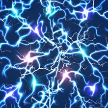 Electric Blue Vector Lightning Seamless Pattern
