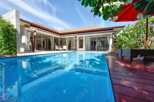 Fotografie, Obraz  Exterior Modern tropical Villa with swimming pool