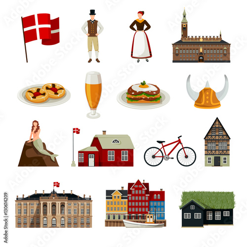 Photo  Denmark Flat Style Icons Set