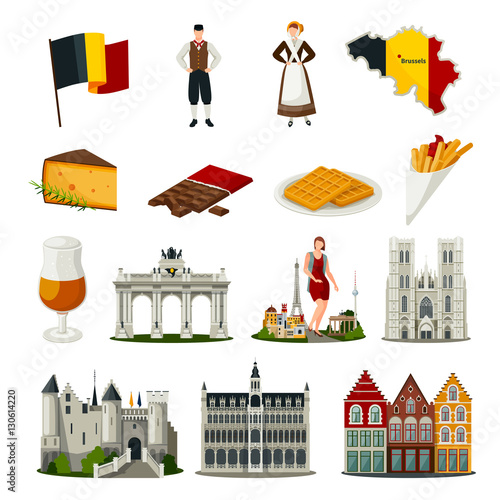 Belgium Flat Style Icons Set Canvas Print