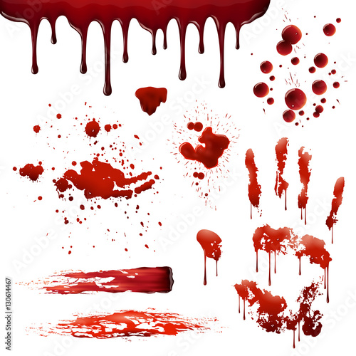 Blood Spatters Realistic Bloodstain Patterns Set Tablou Canvas