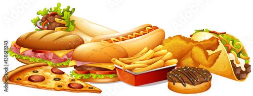 Fototapeta Different types of fastfood obraz