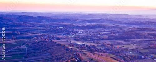 Foto op Aluminium Snoeien Evening view of villages and landscape