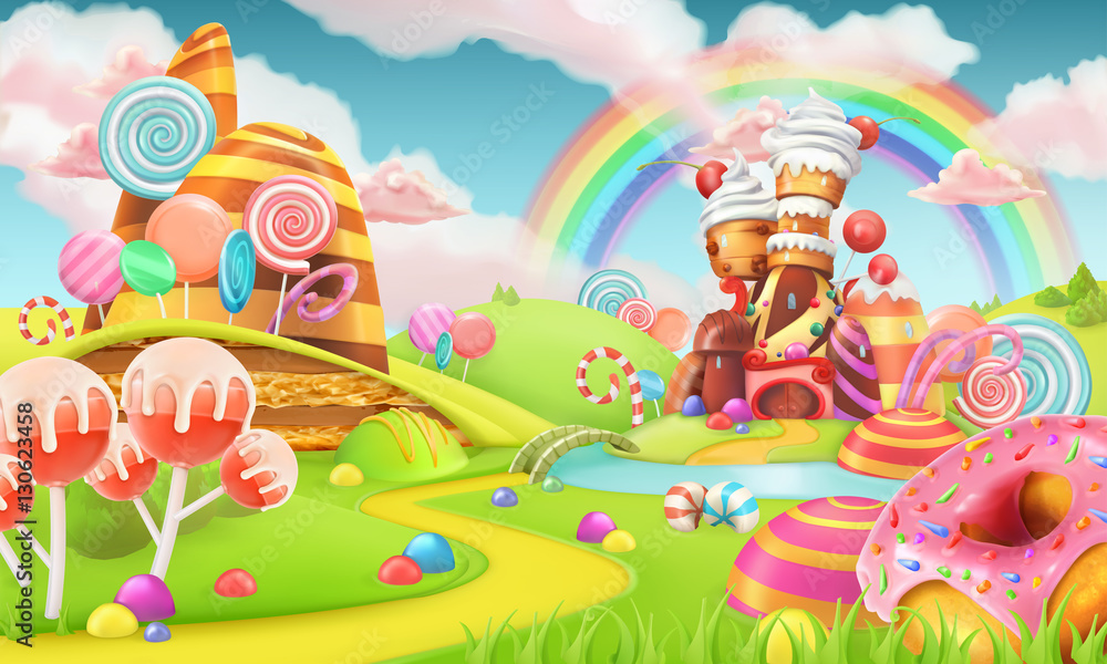 Fototapeta Sweet candy land. Cartoon game background. 3d vector illustration