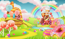 Sweet Candy Land. Cartoon Game Background. 3d Vector Illustration