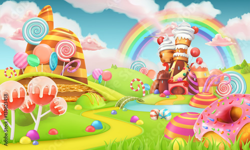 Valokuva Sweet candy land. Cartoon game background. 3d vector illustration
