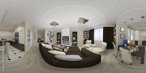 Fotografia  3d illustration spherical 360 degrees, seamless panorama of living room and kitchen interior design