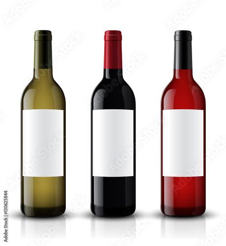 Fotografie, Tablou Mockup wine bottle. vector design.
