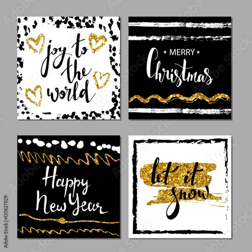set of merry christmas and happy new year card template hand drawn textures lettering