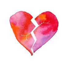 Love Hurt Concept With Artistic Watercolor Broken Heart Illustra