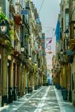 Fototapeta Uliczki - view of a narrow street in spanish city cadiz
