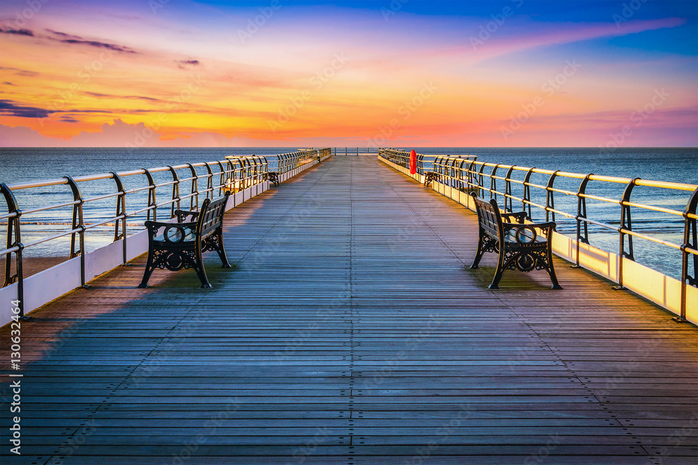 Fototapety, obrazy: Sunset pier at Saltburn by the Sea, North Yorkshire, UK