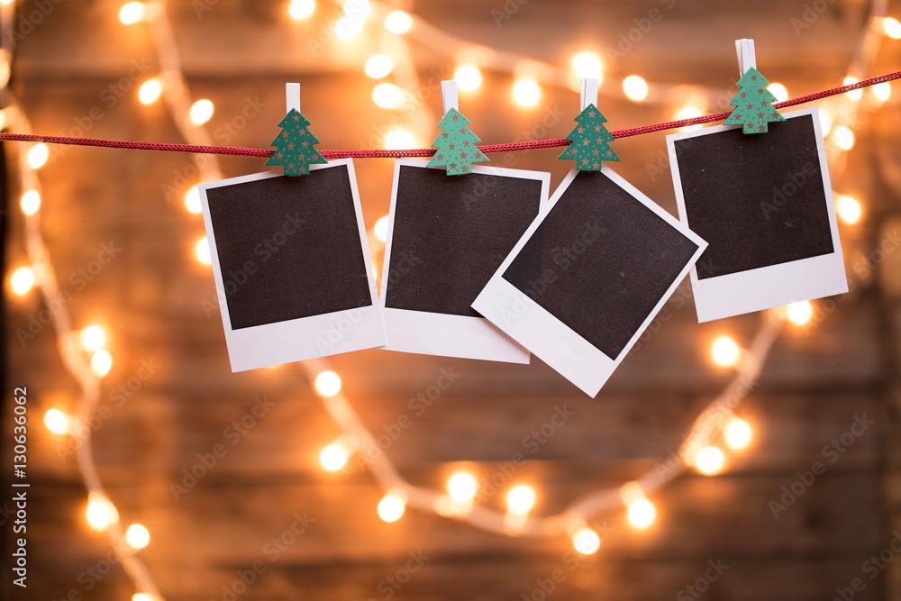 Fototapety, obrazy: Empty photo on wooden background