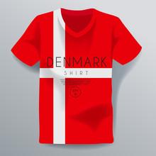Denmark Shirt : National Shirt Template : Vector Illustration