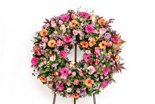 Colorful Flower Arrangement Wreath For Funerals Isolated On White Background