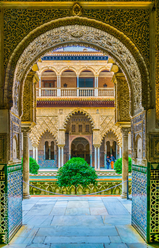 view of the courtyard of the maidens situated inside of the royal alcazar palace in the spanish city sevilla