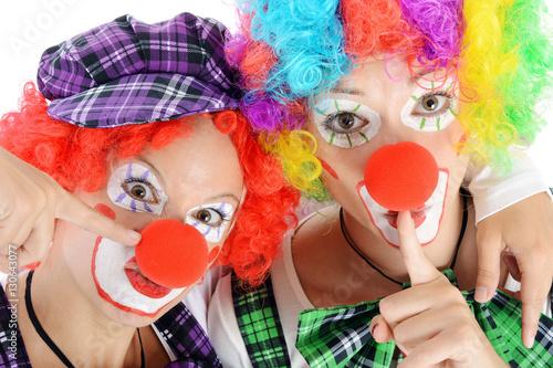 Clown Geschminkt In Kostum Zu Karneval Fasching Oder Fastnacht