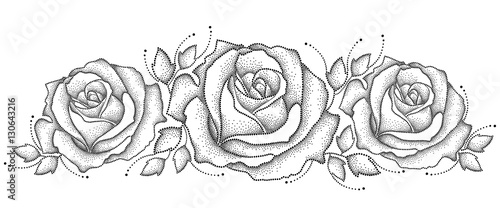Vector Illustration With Three Dotted Rose Flower And Leaves In