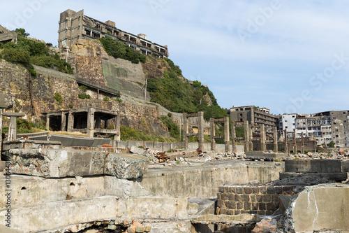 Fotografie, Obraz  Abandoned buildings on Gunkajima in Japan