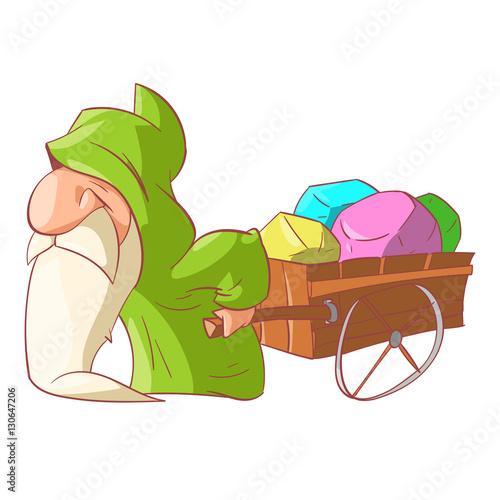 In de dag Regenboog Colorful vector illustration of a Cartoon dwarf, elf or gnome