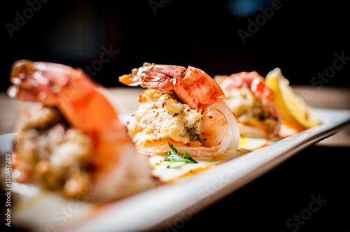 Photo  Crab Stuffed Shrimp Trio Seafood Appetizer
