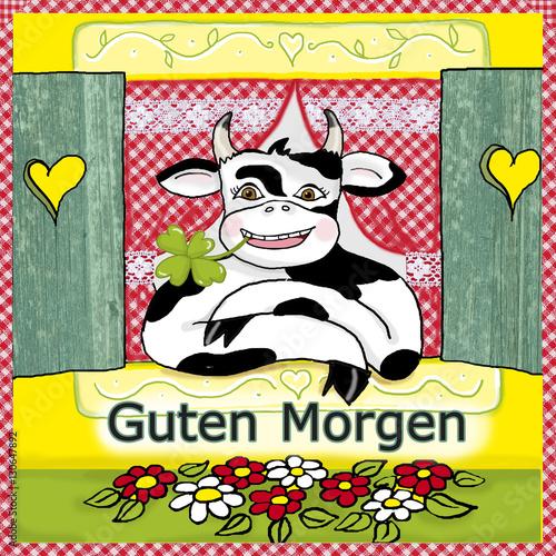 Fröhliche Kuh Schaut Aus Dem Fenster Mit Schriftzug Guten