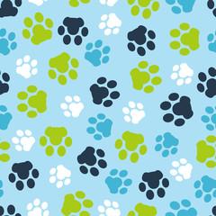 Fototapeta na wymiar Vector pattern seamless of background animal blue footprints and paw