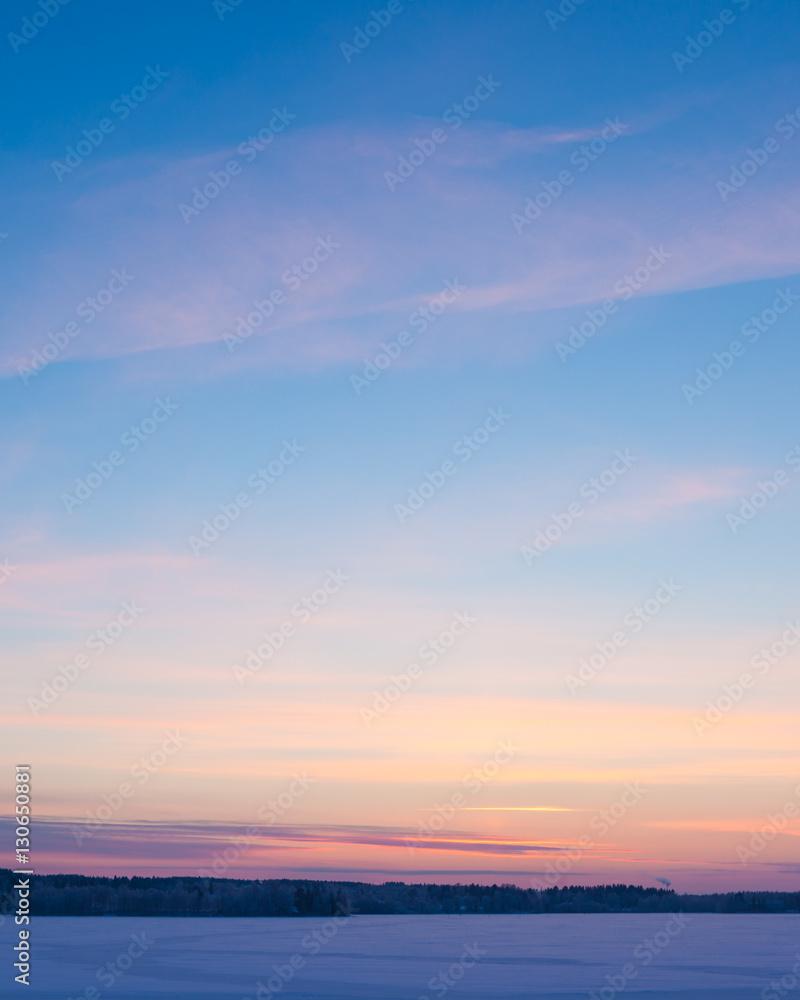 Fototapety, obrazy: Serene sunset sky at winter