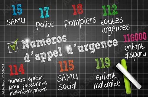 Poster  tableau noir : numéros d'appel d'urgence