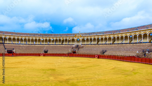 view of bullfighting arena plaza de toros de la real maestranza de caballeria de sevilla in the spanish city sevilla