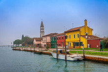 The Mazzorbo Island In The Northern Venetian Lagoon, With Colourful Houses Similar To Those On Burano.