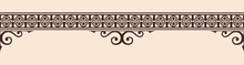 Seamless Vintage Ornament With Elements Of Gothic Style. Brown Pattern On A Beige Background.