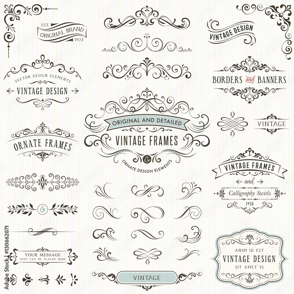 Fototapeta Ornate vintage design elements withcalligraphy swirls, swashes, ornate motifs and scrolls. Frames and banners.