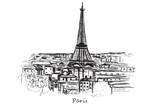 Ręcznie rysowane miasto Paryż na białym tle - 130664469