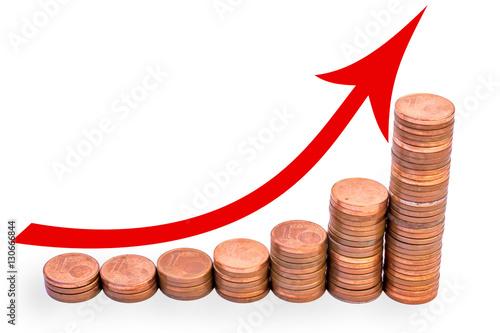 Fotografía  Grafik zur Steigerung von Geld und Vermögen