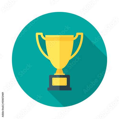 Champion Cup Icon With Long Shadow Flat Design Style Round Trophy Silhouette