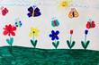 Childish drawing of butterflies and flowers
