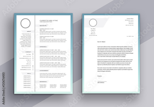 minimalist cv and cover letter layout with grayscale tabs buy this