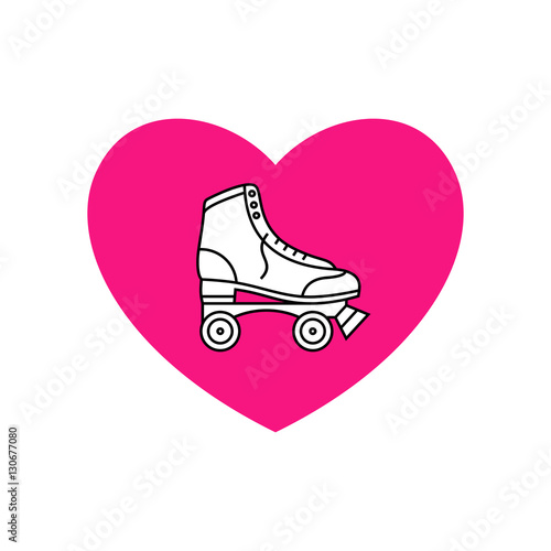 Fototapeta I love retro roller skates vector illustration