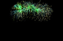 Green Fireworks With Copy Space