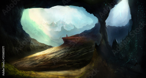 Tuinposter Zwart Unexplored cave